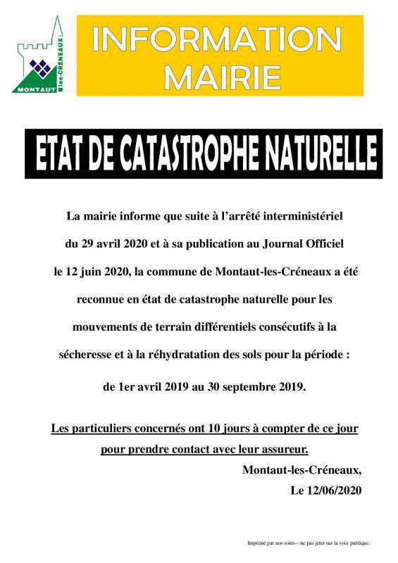Catastrophe naturelle info